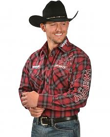 Wrangler PBR Grey & Red Plaid Western Shirt