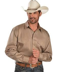 Exclusive Gibson Trading Co. Tan Long Sleeve Western Shirt - Reg