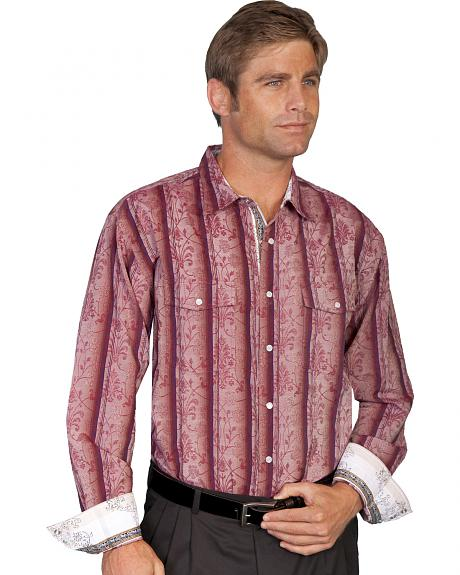 Scully Scroll Overprint Striped Western Shirt
