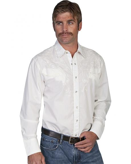 Scully Tonal Scroll Embroidered Yokes Western Shirt
