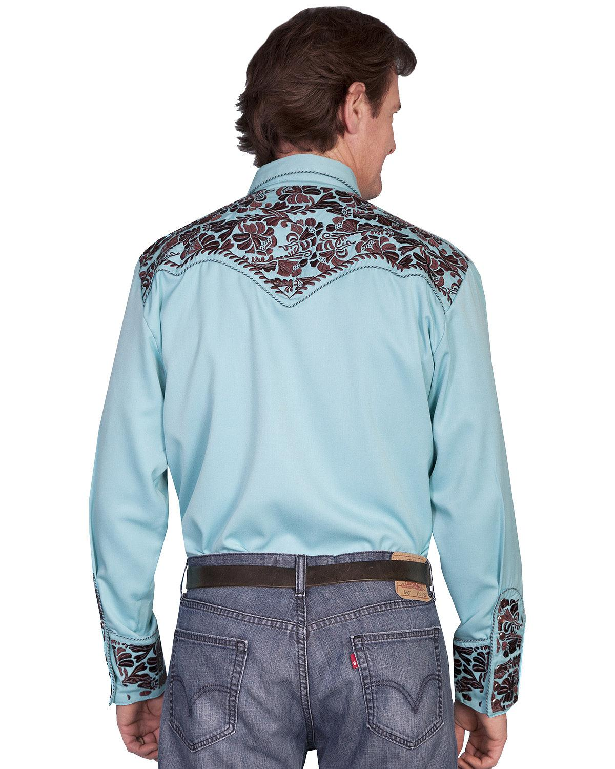 Scully Men 39 S Floral Embroidered Western Shirt P 634 Cho