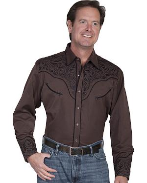 Scully Tribal Embroidered Retro Western Shirt