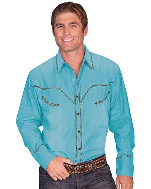 Scully Whip Stitched Denim Retro Western Shirt
