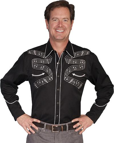 Scully Musical Notes Embroidered Retro Western Shirt $88.99 AT vintagedancer.com