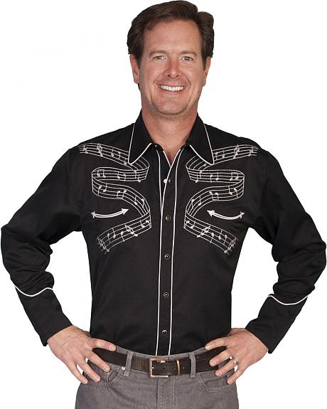 Scully Musical Notes Embroidered Retro Western Shirt