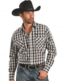 Jack Daniel's Logo Embroidered Black & White Plaid Western Shirt