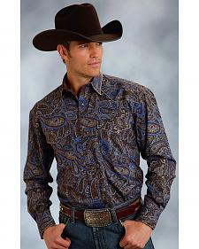 Roper Amarillo Collection Blue & Brown Paisley Western Shirt