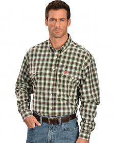 Cinch Brown and Green Plaid Double Pocket Shirt