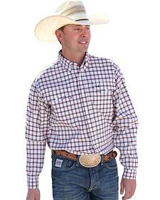 Cinch White Plaid Arena Flex Long Sleeve Western Shirt