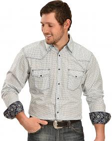 Wrangler 20X Navy Dot Print Long Sleeve Shirt