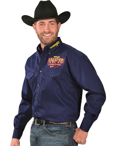 Wrangler Mens Navy NFR Long Sleeve Western Shirt Western & Country MP2292N