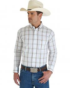 Wrangler George Strait White & Khaki Plaid Shirt