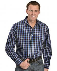 Wrangler Wrinkle Resist Black and Blue Plaid Shirt