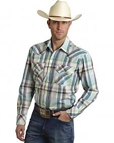 Roper Men's Amarillo Collection Blue & Brown Plaid Snap Long Sleeve Shirt