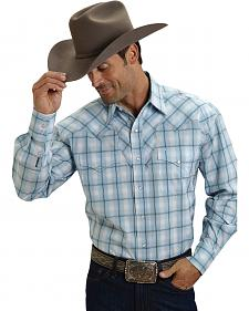 Stetson Men's Blue & White Plaid Western Shirt