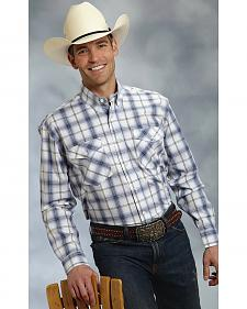 Roper Amarillo Collection Blue Plaid Long Sleeve Western Shirt