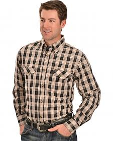 Gibson Trading Co. Black and Tan Plaid Long Sleeve Shirt