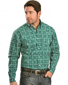 Gibson Trading Co. Green and Black Print Shirt