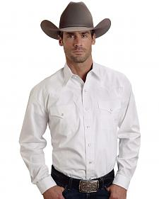 Stetson Solid White Fancy Yoke Western Shirt