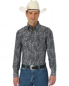 Wrangler George Strait Troubadour Black and Grey Paisley Shirt