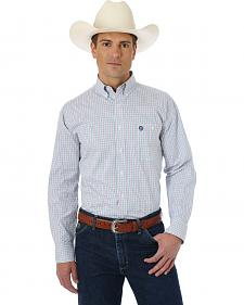 Wrangler George Strait Rose, Navy and Green Plaid Western Shirt