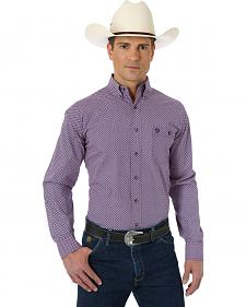 Wrangler George Strait Collection Rose and Navy Print Western Shirt