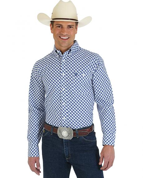 Wrangler George Strait Collection Blue and White Plaid Western Shirt