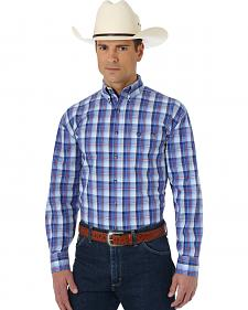 Wrangler George Strait Collection Navy, Blue and White Plaid Western Shirt
