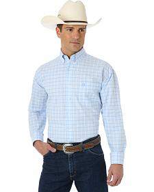 Wrangler George Strait Light Blue and White Plaid Western Shirt