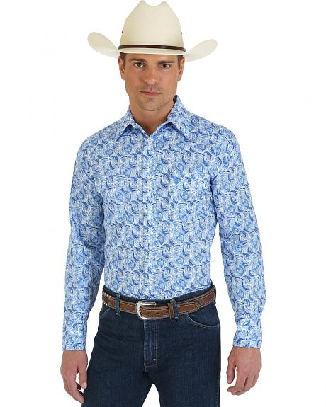 Wrangler George Strait Collection Blue Paisley Western Shirt