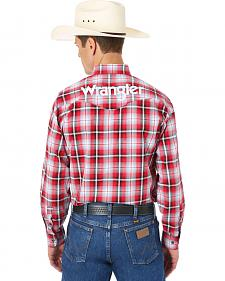 Wrangler Red and Black Plaid Logo Western Shirt