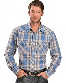 Wrangler 20X Men's Blue & Gray Plaid Long Sleeve Snap Shirt