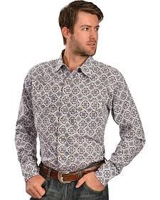 Wrangler 20X Men's Blue & White Print Long Sleeve Snap Shirt
