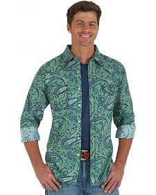 Wrangler 20X Men's Green & Navy Paisley Long Sleeve Snap Shirt