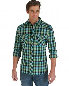 Wrangler 20X Green and Navy Plaid Long Sleeve Shirt