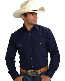 Roper Men's Solid Navy Embroidered Western Shirt