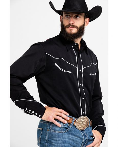 Roper Americana Collection Red, White and Blue Embroidered Skull Western Shirt