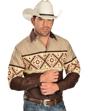 Gibson Tan and Brown Aztec Border Long Sleeve Western Shirt