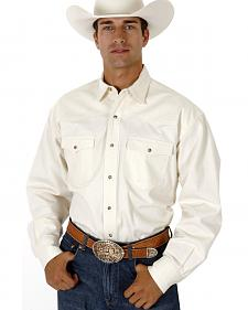 Roper Men's White Denim Long Sleeve Western Shirt