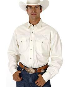 Roper Men's White Denim Long Sleeve Western Shirt