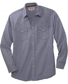 Miller Ranch Navy Striped Long Sleeve Western Dress Shirt