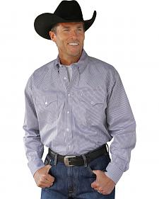 Miller Ranch Navy Plaid Pinpoint Long Sleeve Western Shirt