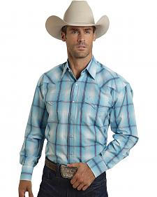 Stetson Men's Blue & Purple Plaid Western Shirt