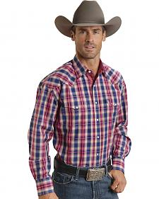 Stetson Men's Fuchsia & Purple Plaid Western Shirt