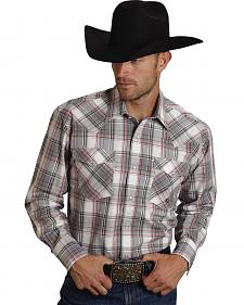 Roper Men's Amarillo Collection Red & Gray Plaid Western Shirt
