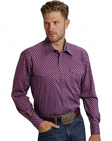 Roper Men's Amarillo Collection Red & Blue Print Western Shirt