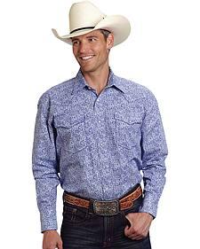 Roper Men's Amarillo Collection Blue Paisley Western Shirt