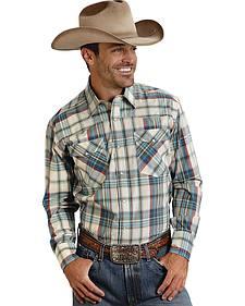 Roper Men's Amarillo Collection Green Plaid Western Shirt
