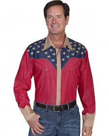 Scully Patriotic Pick Stitched Western Shirt