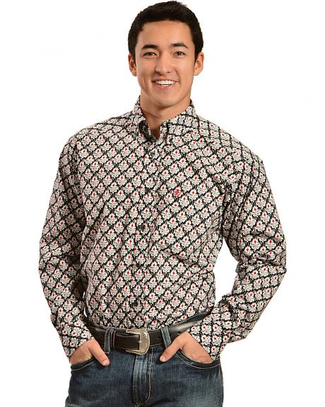Ariat Men's Charcoal Grey and Red Print Western Shirt